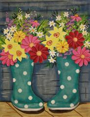 Alice Peterson Rain Boots and Flowers 2758