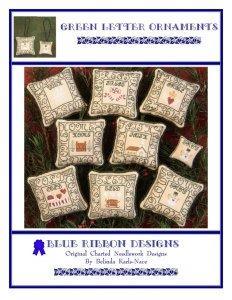 Blue Ribbon Designs Green Letter Ornaments